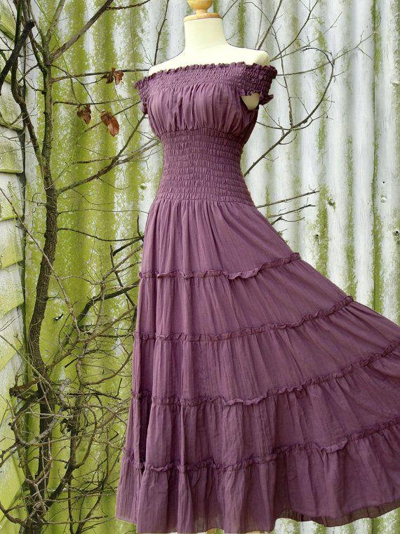 Lavender Purple Maxi Dress - Long Cotton Dress / Off The Shoulder ...