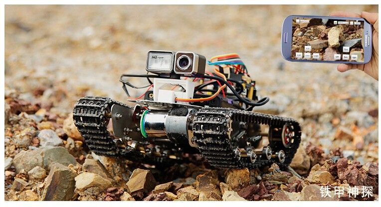 Metal stainless steel Tank Track with shock absorber ROBOT VIDEO MOBILE CONTROL FOR arduino