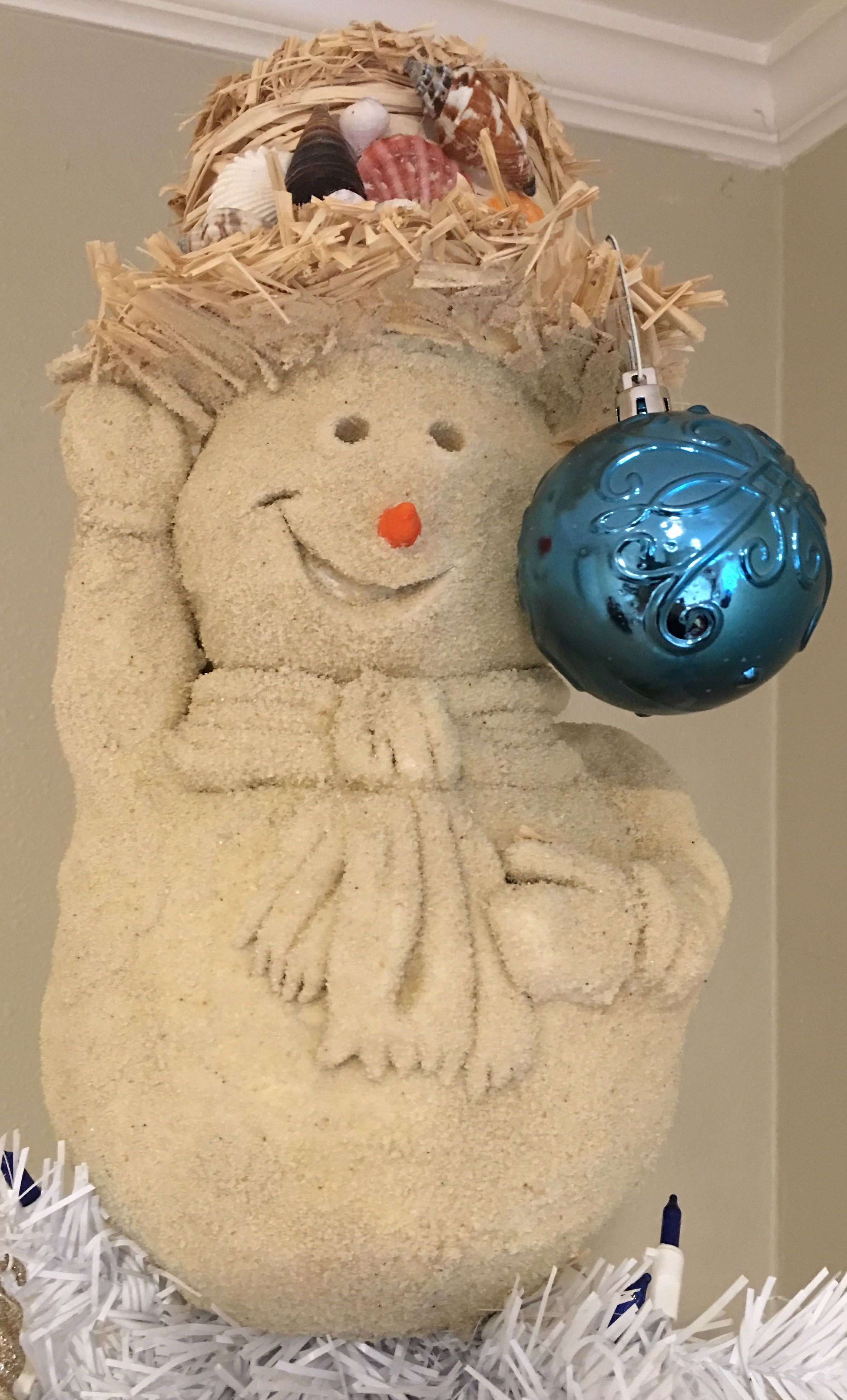 Add An Ornament For Whatever Color Your Tree Theme Is Thank You Jesus For Helping Me Sand Snowman Beach Christmas Snowman
