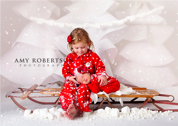 This baby in a sled with her big sister: | Christmas photo shoot ...