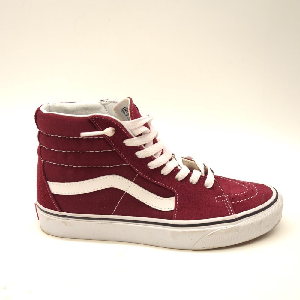 9fb9b815fe422a New Vans Womens Red Maroon Skater High Top Classic Canvas Shoes Size 8  VANS   HighTop
