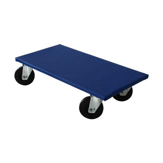 Meubelroller 600 x 300 mm blauw wiel zwart 500 KG 75 mm (TIP)