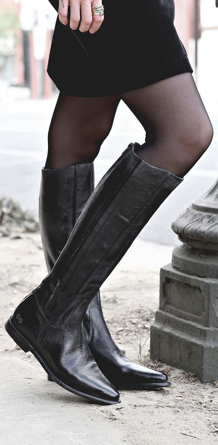 fa609c349 Black leather tall boot by BEDSTU. Clean lines and a sleek pointed toe,  this flat boot is a must have style.