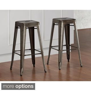 tabouret 30 inch vintage and gunmetal bar stools set of 2 gunmetal brown bar stool. Black Bedroom Furniture Sets. Home Design Ideas