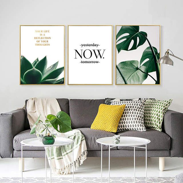 Oubei Art Modern Home Decor Green Plant Canvas Painting Succulent Plant Nordic Posters and Prints For Living Room images