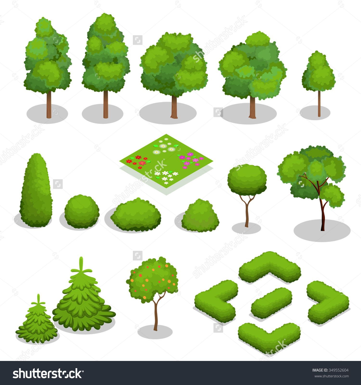 Trees Isometric Flowers Grass Big And Small Trees Leakage