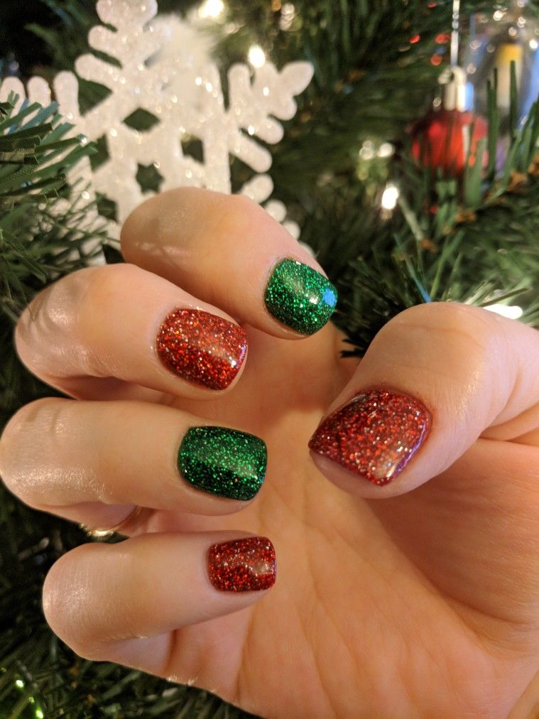 Christmas Red And Green Glitter Nexgen Nails