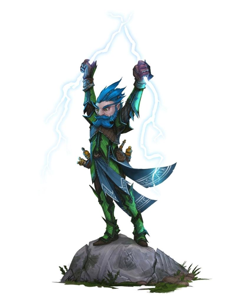 Male Gnome Lightning Sorcerer - Pathfinder PFRPG DND D&D 3 5 5th ed