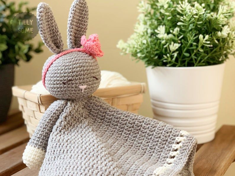 Sleepy Bunny Lovey Crochet Pattern | Security Blanket | Comforter | PDF Crochet Pattern #securityblankets