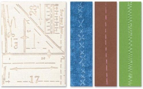 Sizzix - Embossing folders - Pattern & Stitches Set  4 stk embossing foldere fra Tim Holtz Alterations-serie. Embossingfoldere som preger mønster i papiret.  Mål: A2 Kan brukes i flere kuttemaskiner som f.eks Epic Six, Cuttlebugog Big Shot.