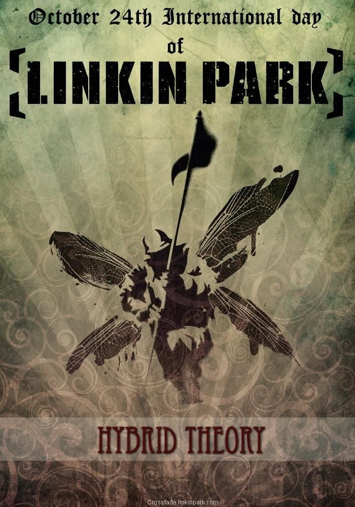 The front cover for Linkin Park's album, Hybrid Theory. It is a relatively good example of design in music i.e packaging, aesthetic appeal etc.