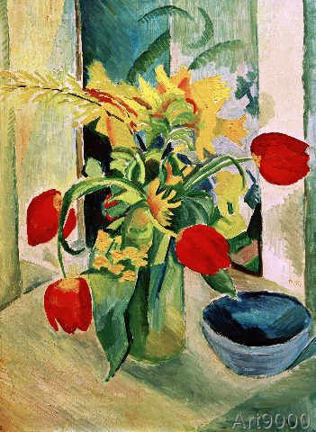 august macke stilleben mit tulpen 51 0 x 70 0 cm august macke pinterest. Black Bedroom Furniture Sets. Home Design Ideas