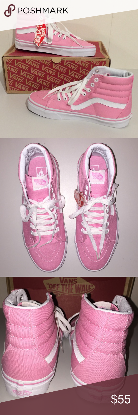 50d92fb144c628 NWT Vans SK8-Hi Canvas Prism Pink Spice up your outfit with these pretty pink  shoes. Unisex  M 8.0 W 9.5 PRICE IS FIRM. Vans Shoes Sneakers