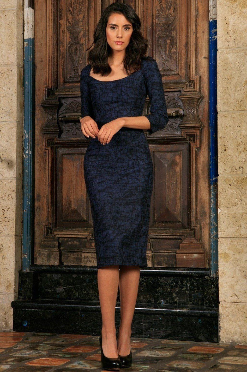 348742516948 Navy Animal Print 3/4 Sleeve Bodycon Fancy Party Midi Dress - Women ...