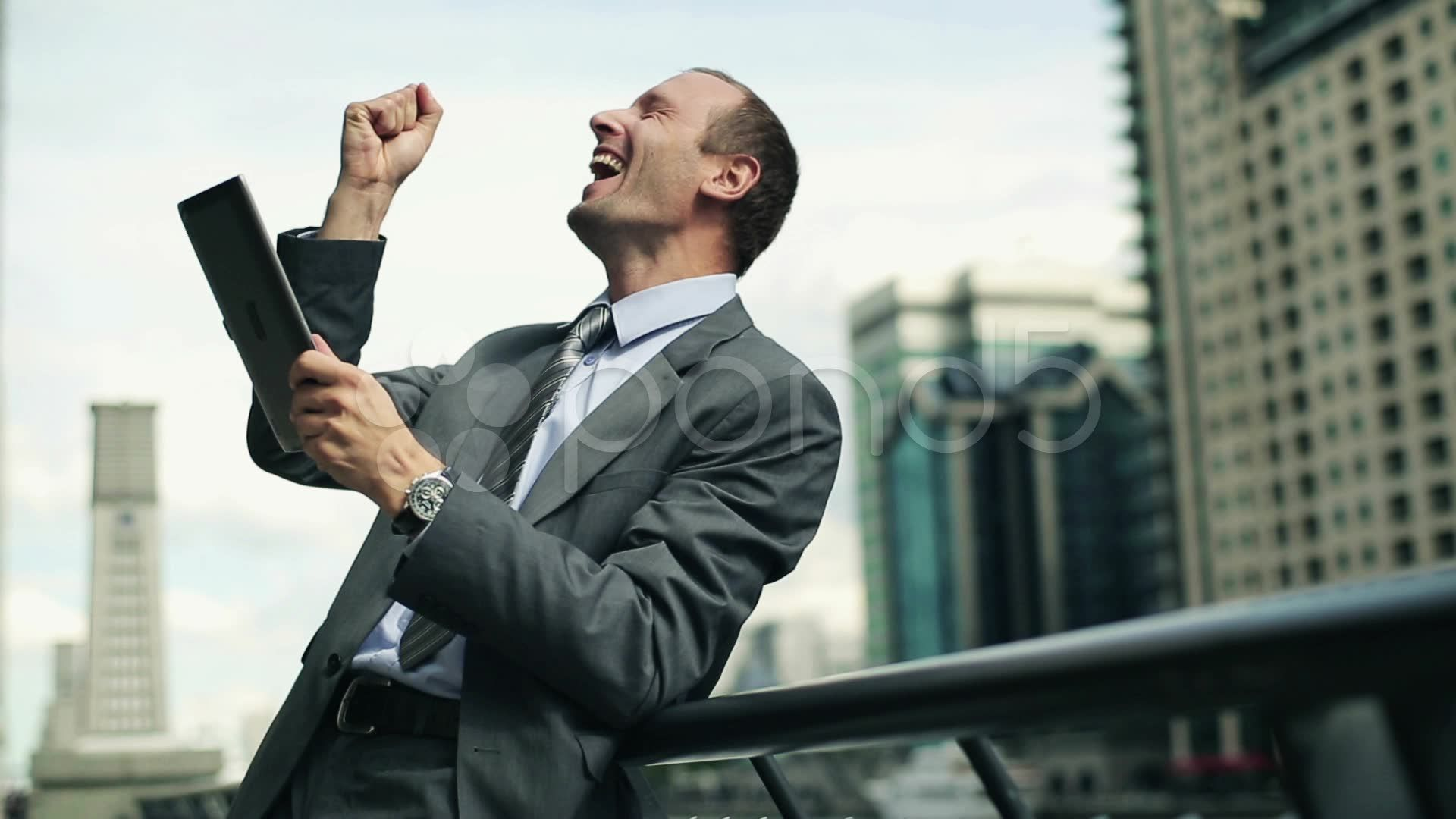 Successful Businessman With Tablet Computer In The City Hd Stock