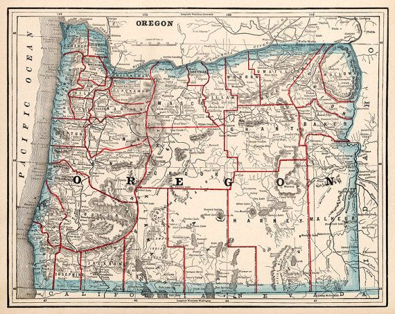 Historical Map Of Oregon 1893 Old Map Restored Historical