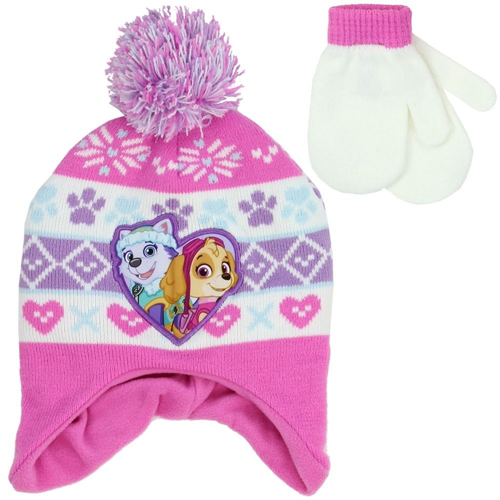 58e44572036 PAW PATROL GIRLS WINTER HAT   MITTENS SET  Nickelodeon  BeanieandGloves