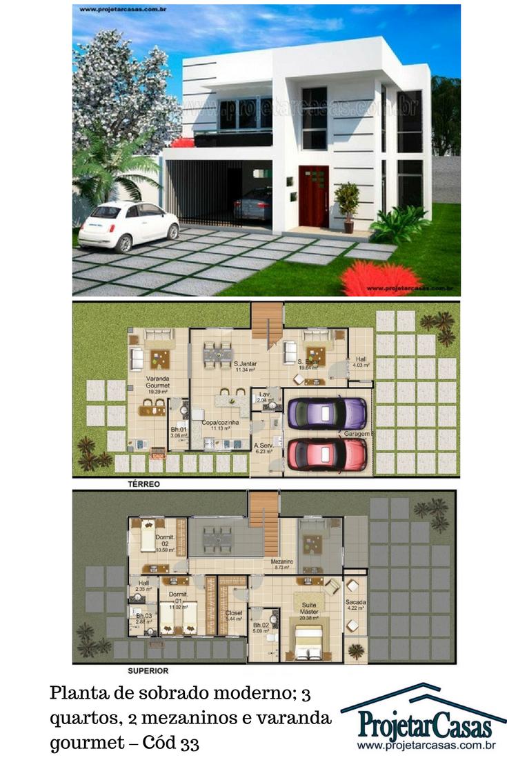 Modelo De Sobrado Moderno Com Garagem Para 2 Carros Sala Em L O