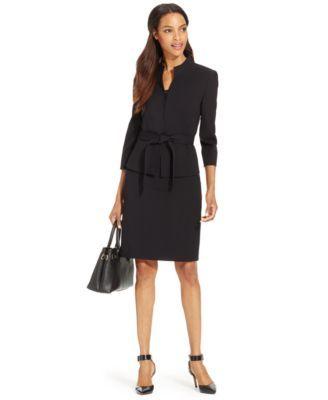 Tahari by ASL Tweed Boucle Long Jacket & Belted Sheath Dress ...