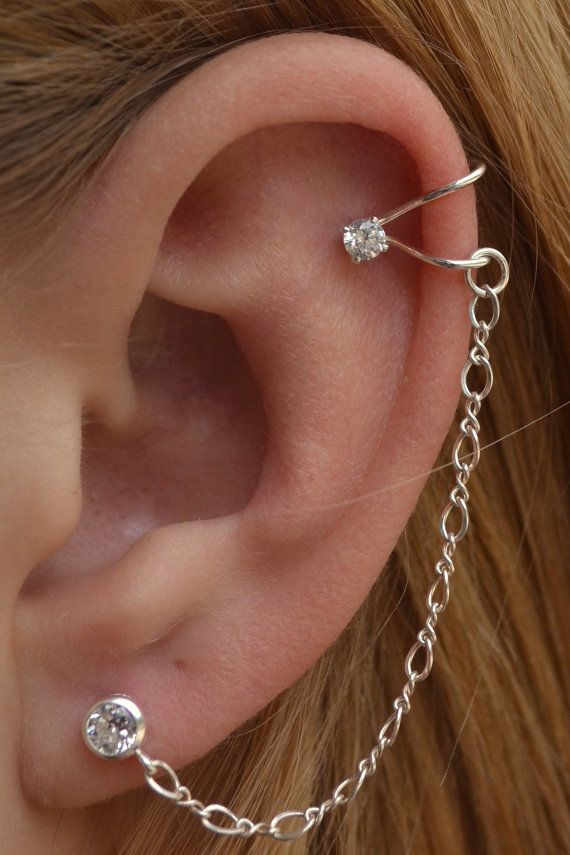 Sterling Silver Ball Stud & Ear Cuff with Chain Earring GQCbx