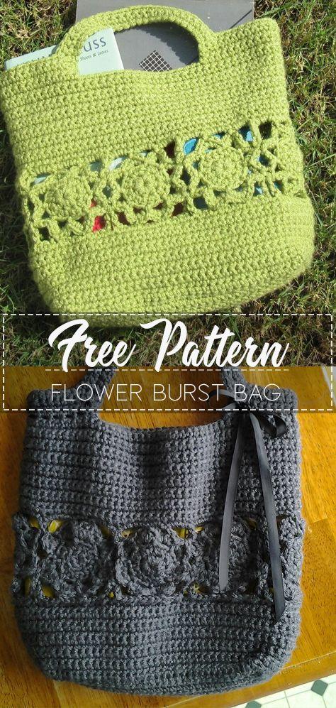 Flower Burst Bag – Pattern Free – Easy Crochet #bagpatterns