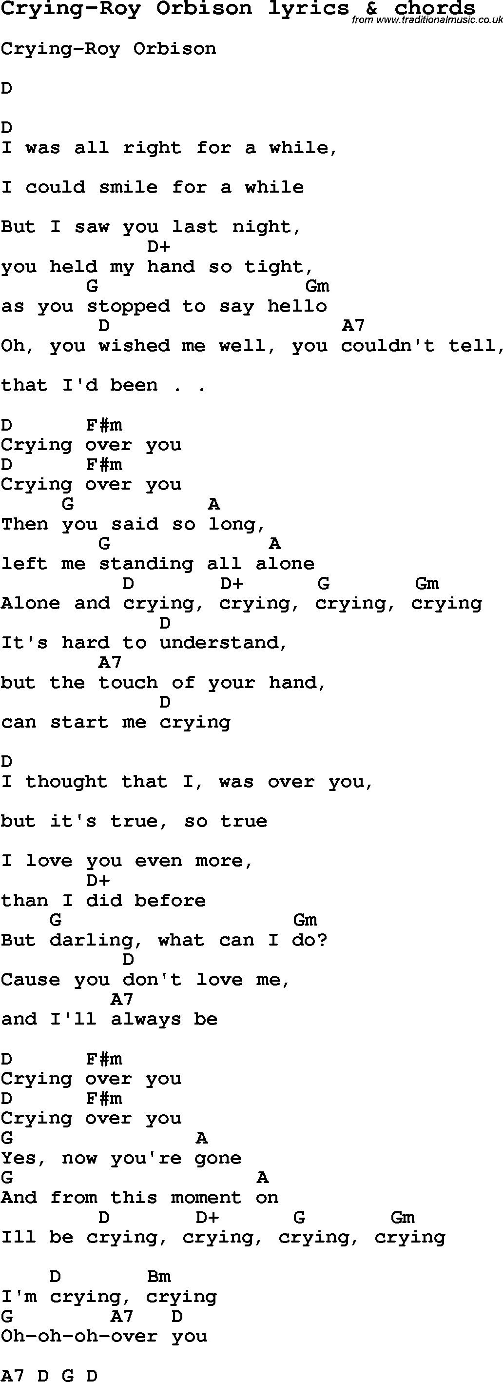 Love Song Lyrics For Crying Roy Orbison With Chords For Ukulele