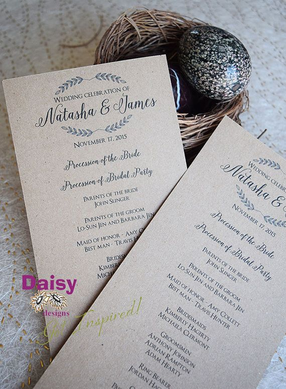 This simple yet rustic DIY wedding program suits any style of