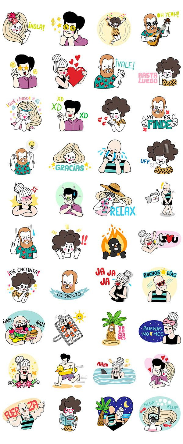 LINE Stickers 2nd Pack A Summer Crew on Behance Line
