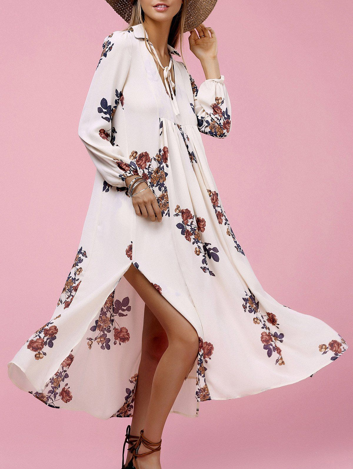 High Slit Floral Midi Dress | Pinterest | Quiero, Zapatos y Ropa