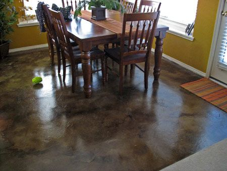 A Nice Looking Concrete Floor Look What An Acid Stain Did To This Room Solcrete
