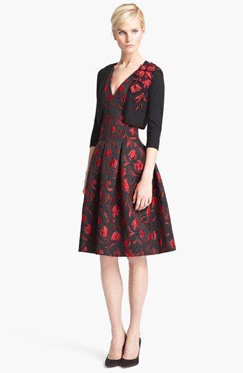5e97bd355 Oscar de la Renta Floral Embroidered Bolero Vestido Estampado
