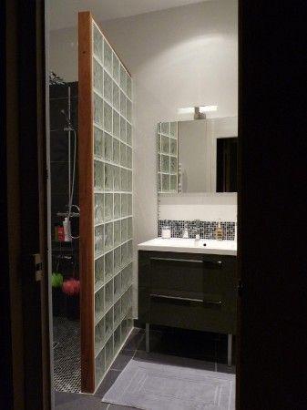 salle de bain Briques, Verre et Salle de bains