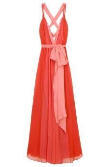 coral and salmon dress
