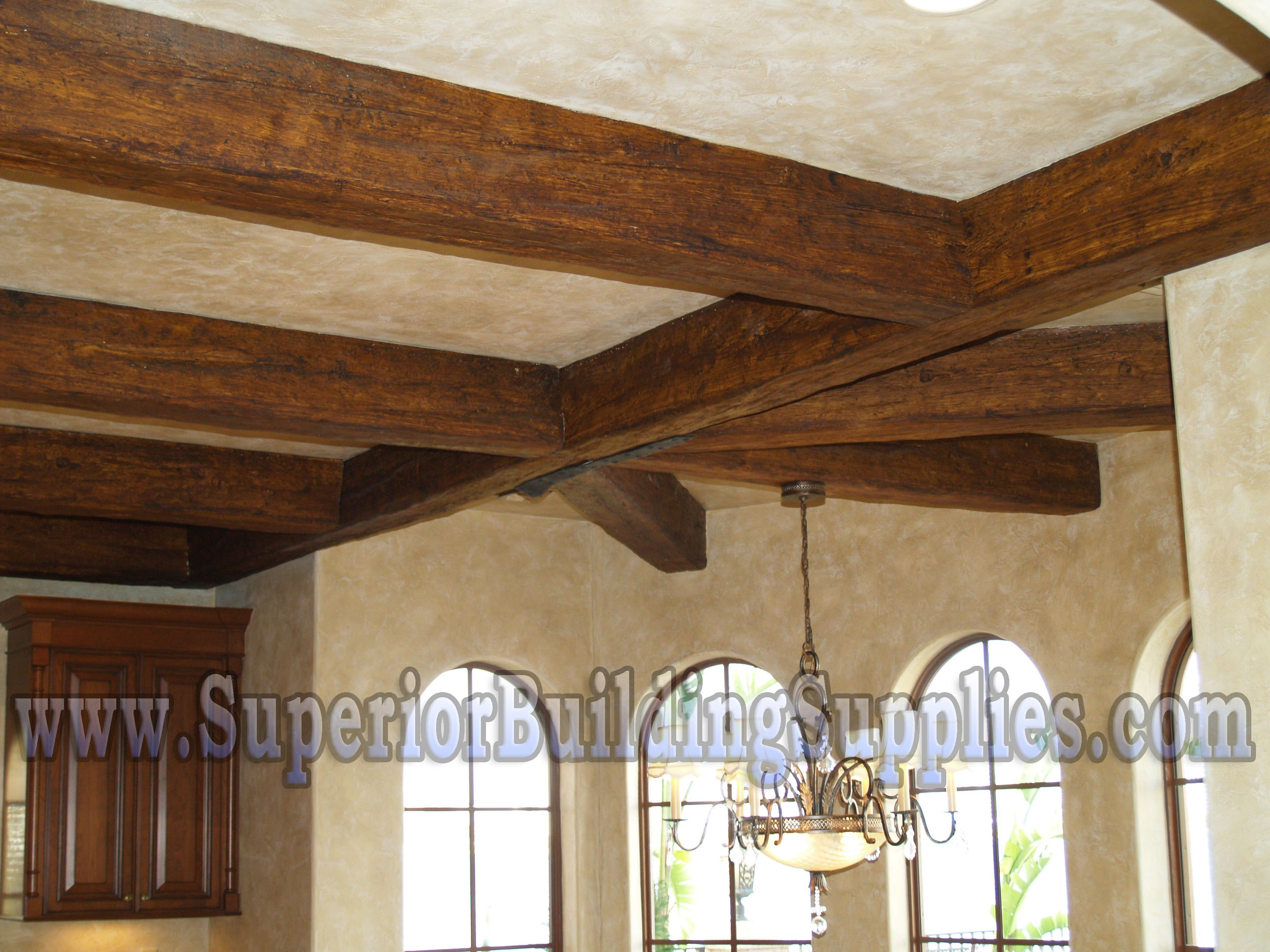 Wooden ceiling beams mediterranean faux ceiling beams for Fake wood beams for ceiling