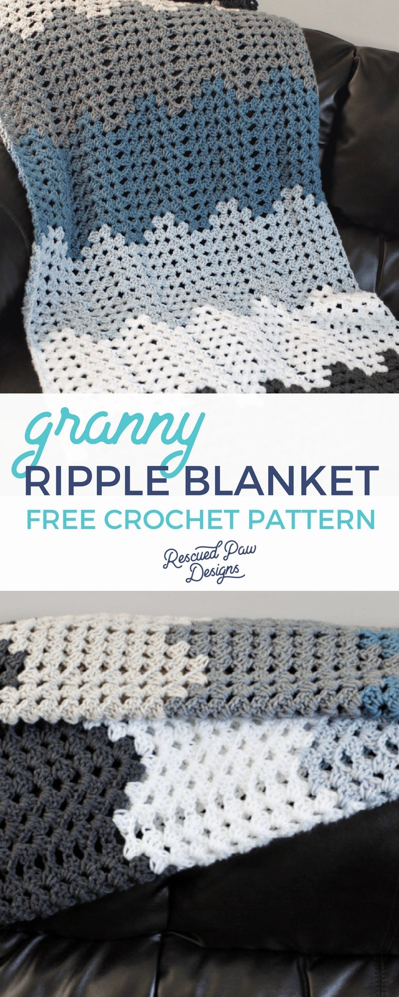 Granny Ripple Blanket Crochet Pattern Loom Knitting Häkeln