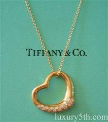 Tiffany co 18k gold elsa peretti diamond open heart pendant tiffany co 18k gold elsa peretti diamond open heart pendant necklace aloadofball Images
