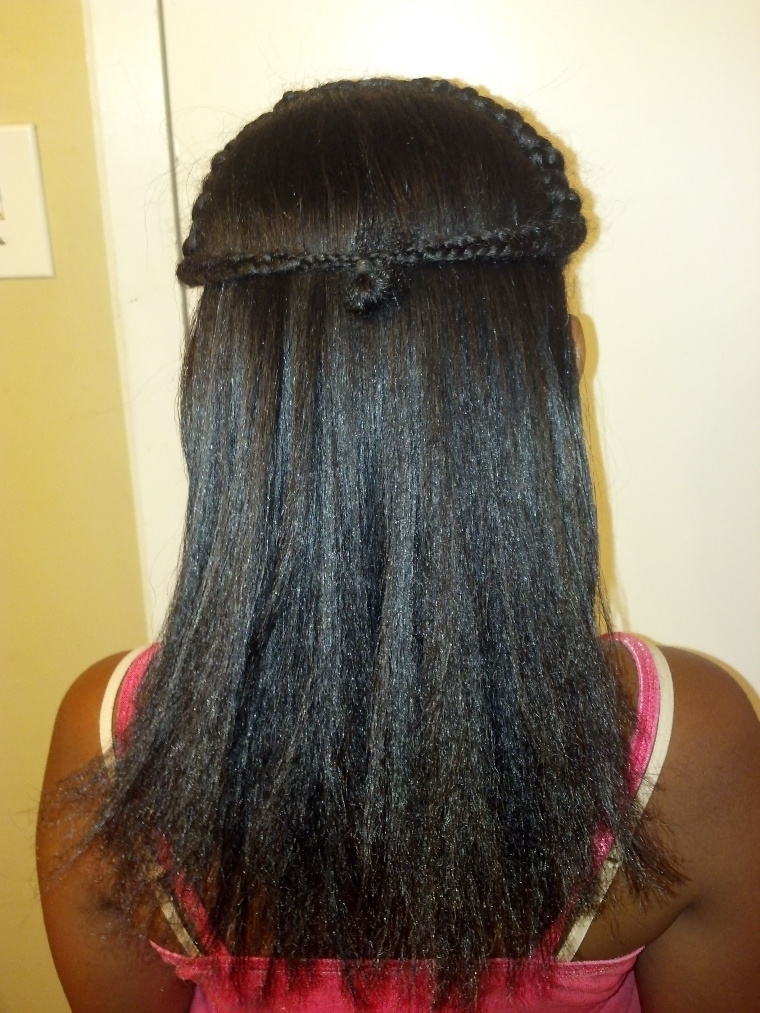 My daughter's hair flat ironed (Chi flat iron) with only ...