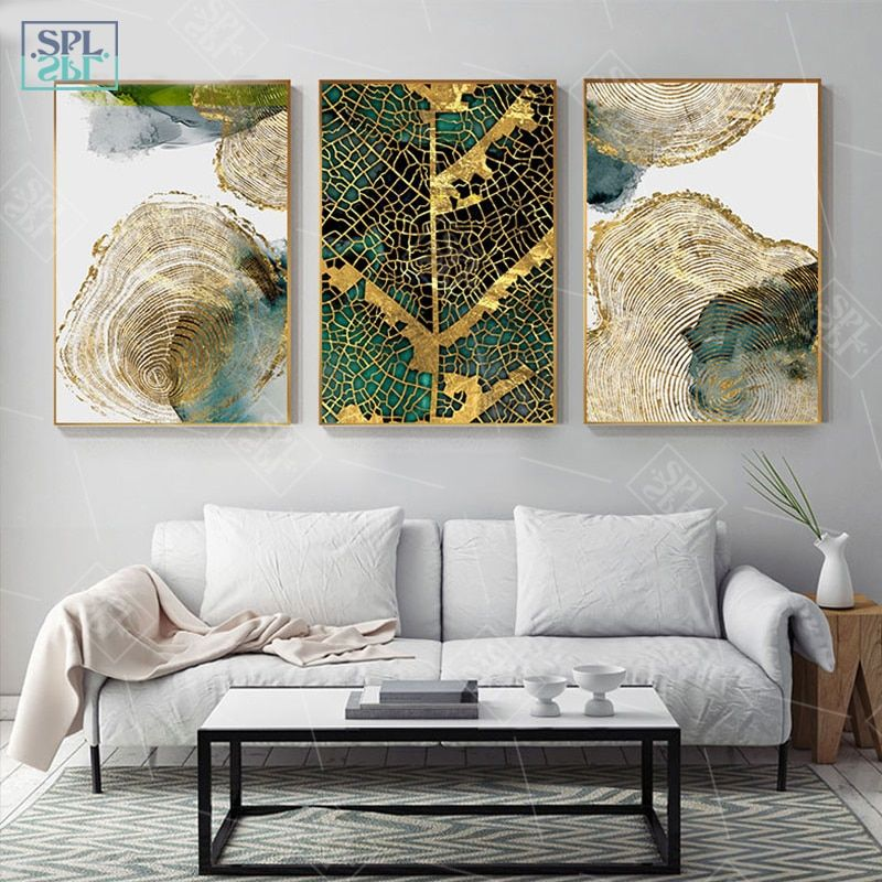 Black Golden Plant Leaf Canvas Poster Print Modern Home Decor Abstract Wall Art Painting Nordic Living Room Decoration Picture Wall Art Pictures Abstract Wall Art Painting Abstract Wall Art