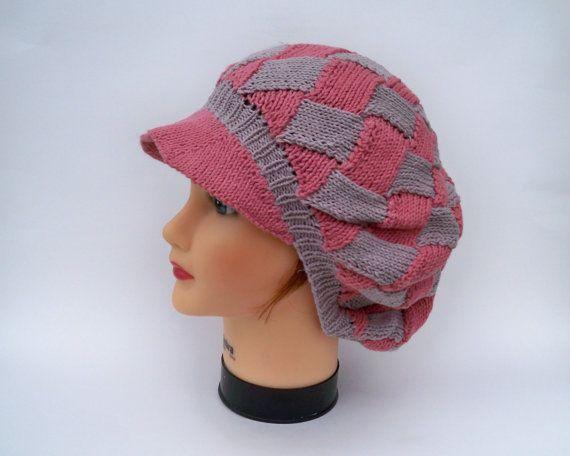 720d2dc1d1d Knit Newsboy Hat - Entrelac Slouchy Visor Tam In Sunset Rose And Opal Grey  - Cotton Blend Beret - Brimmed Beanie - Women s Headwear
