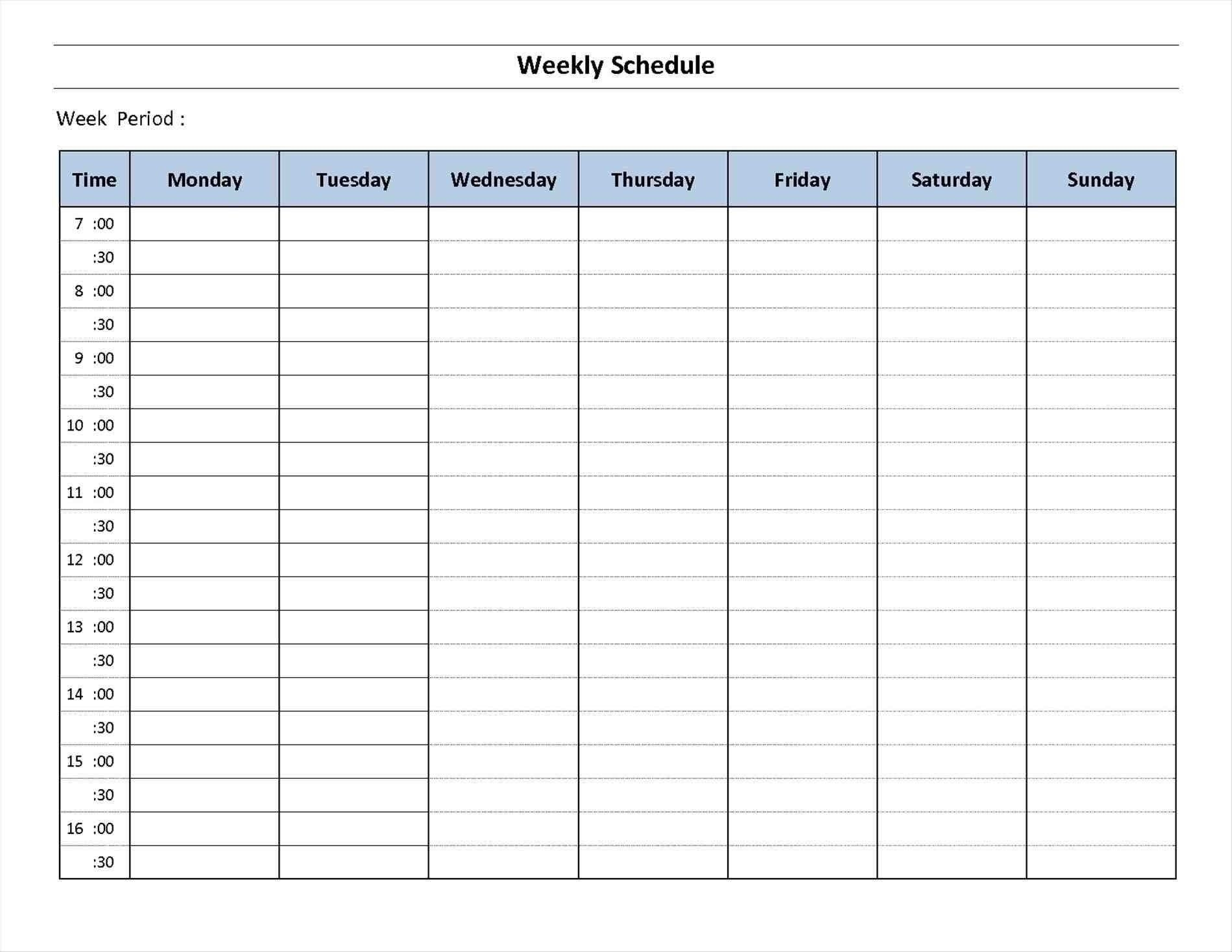 7 Day A Week Calendar Template Template Calendar Printable