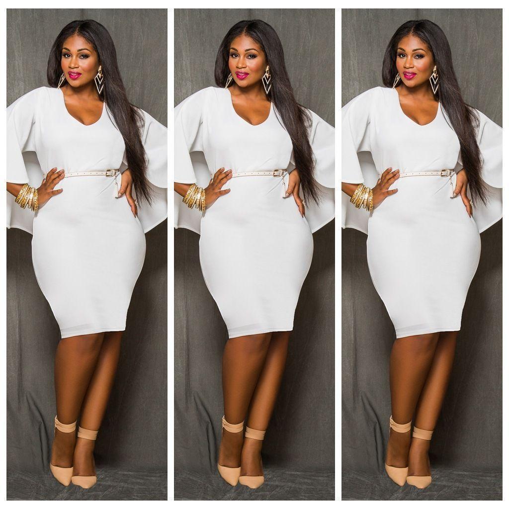Women S V Neck Plus Size Bodycon Dress Party Club Cooktail Evening Dresses White Plus Size Bodycon Dresses White Evening Dress Bodycon Dress Parties [ 1024 x 1024 Pixel ]