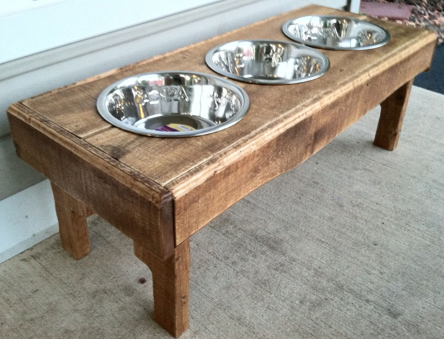Reclaimed Rustic Pallet Furniture Dog Bowl Stand By Kustomwood, $5999