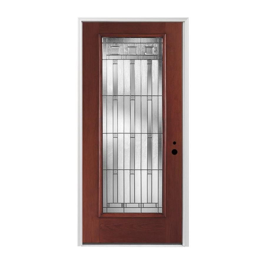 Pella Left Hand Inswing Red Mahogany Stained Fiberglass Entry Door With  Insulating Core (Common: 36 In X 80 In; Actual: 37.5 In X 81.75 In)