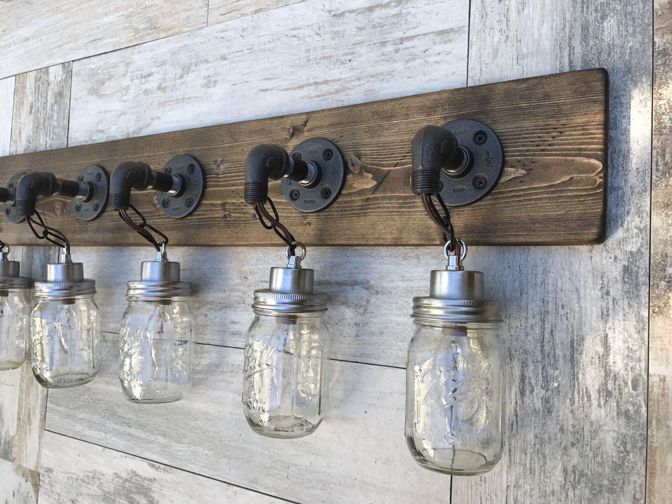 Industrial rustic vanity light by lightrooom on etsy