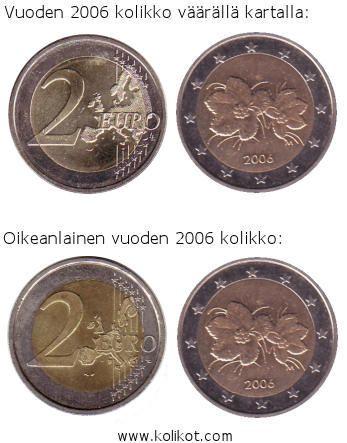 Virheellisiä kahden euron kolikoita