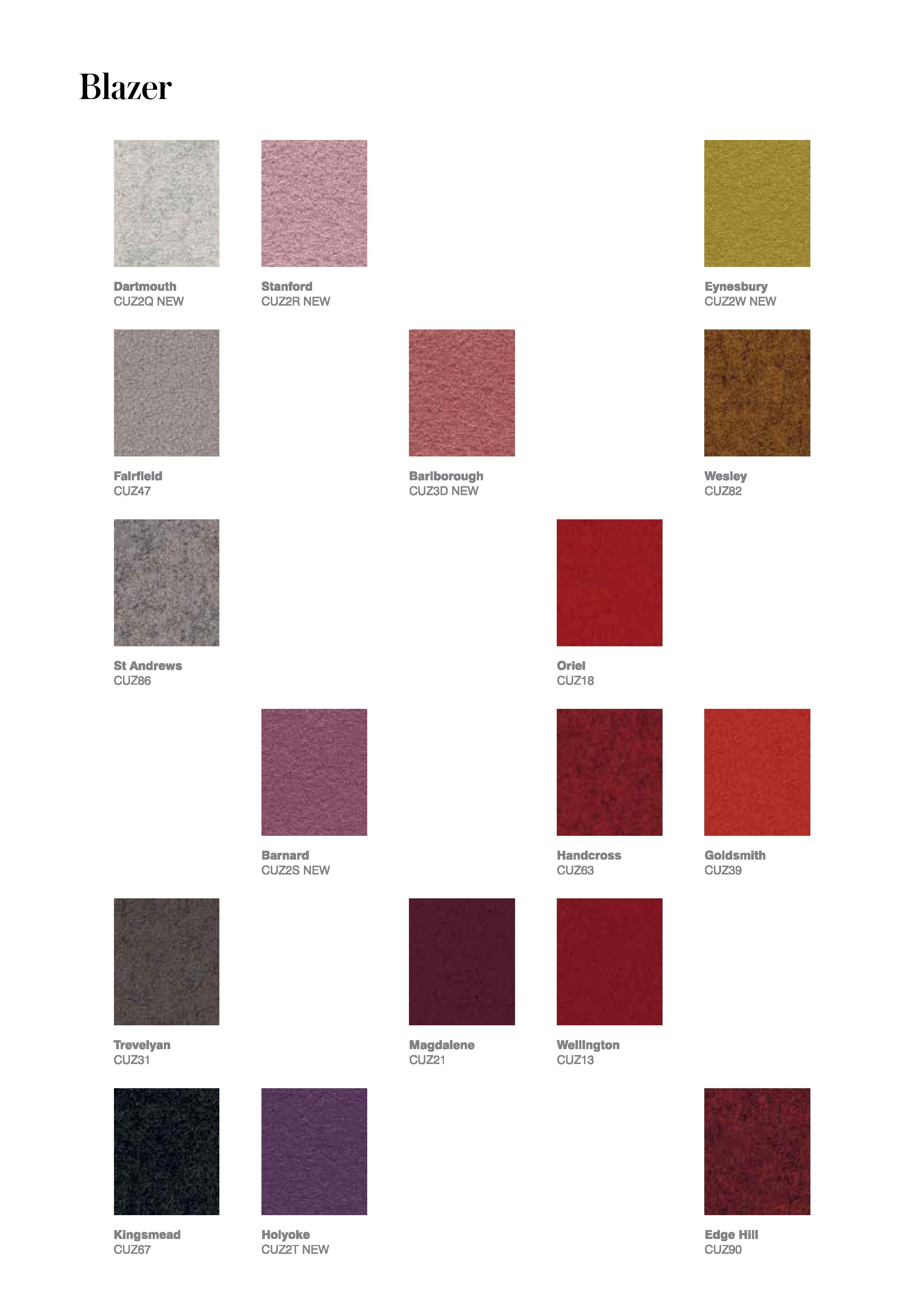Camira Blazer In 2020 Shade Card Fabric Color Fabric Collection