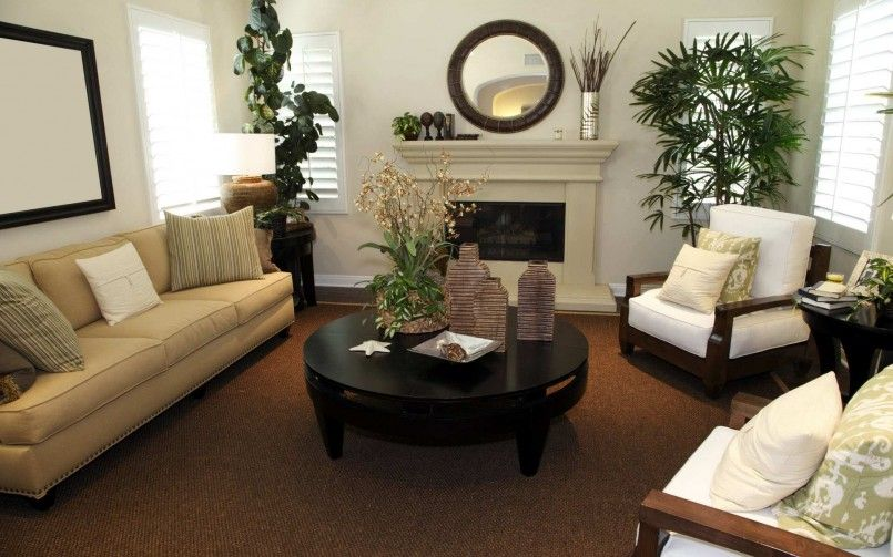 Ideas Ideas For Living Room Brown Rug White Fireplace Brown Sofa .