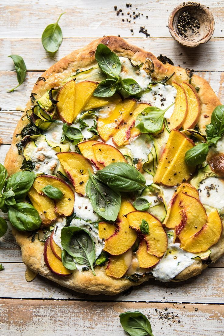 Pesto Zucchini and Peach Pizza with Burrata. - Half Baked Harvest