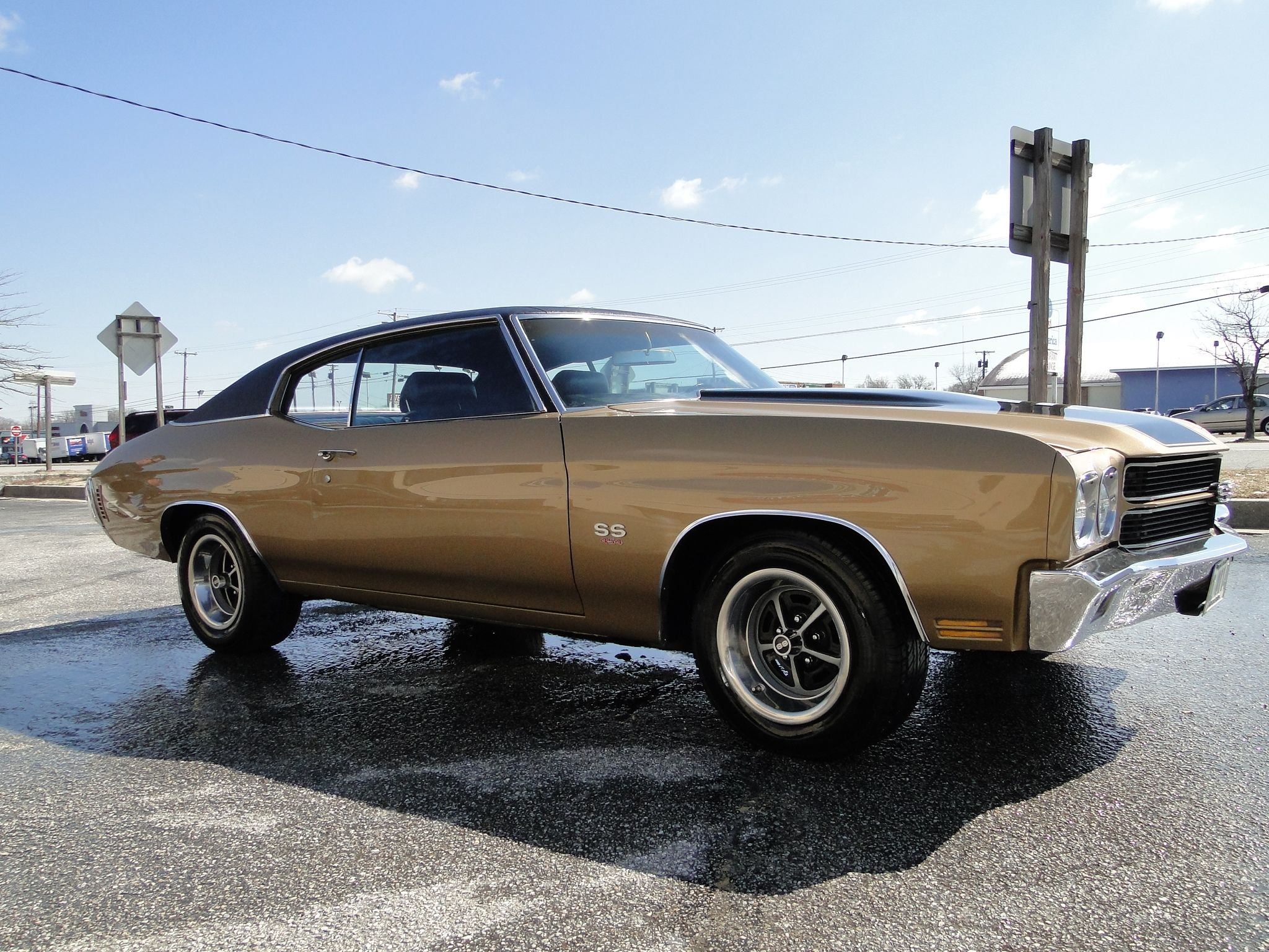 For sale 1970 real super sport chevelle has been repainted to its factory autumn gold