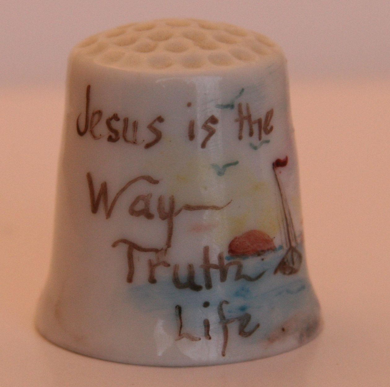 Hand Painted, Porcelain. Thimble Jesus is the Way - Truth .